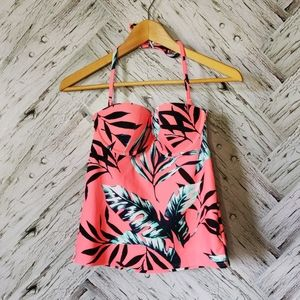 Brand New Old Navy Coral Leaf Tankini Top